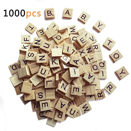 1000 Scrabble Letters for Crafts - Wood Scrabble Tiles - DIY Wood Gift Decoration - Making Alphabet Coasters and Scrabble Crossword Game