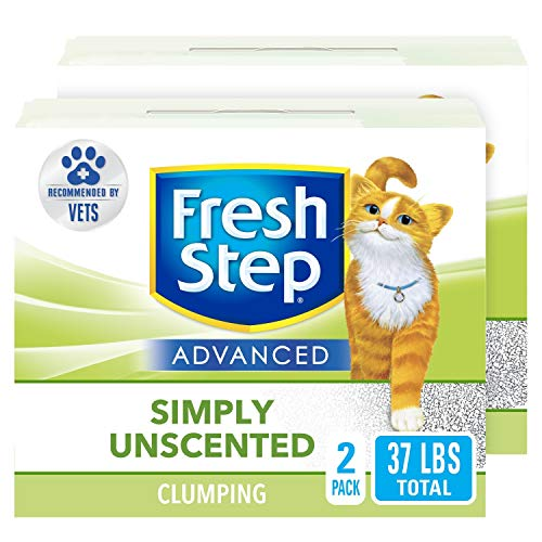 Fresh Step Advanced Clumping Cat Litter with Activated Charcoal & Natural Odor Control - Unscented, 37 lb (2x18.5lb Pack), Gray (32403)