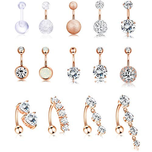 Jstyle 14Pcs Stainless Steel Belly Button Rings for Women Girls Reverse Navel Rings Curved Barbell CZ Body Piercing Jewelry 14G