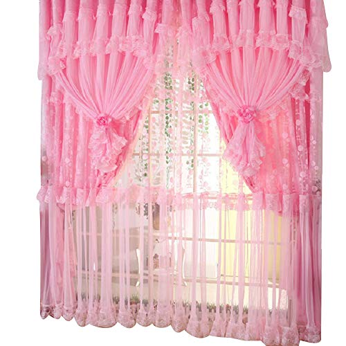 Comforbed Jacquard Princess 4-Layer Ruffle Lace Embroidered Tulle Window Curtains Valances Panel Sheer for Living Room Bedroom Wedding Home Decor 118' x 110' (Style1, Pink)