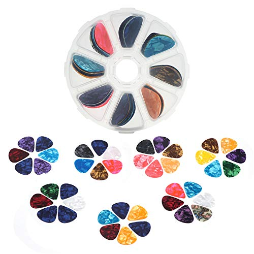Guitar Picks, Tifanso 55 Pack Colorful Guitar Plectrums Gift For Bass, Electric & Acoustic Guitars, Ukulele - Includes Thin 0.46mm, Medium 0.71mm, Heavy 0.96mm with Pick Box