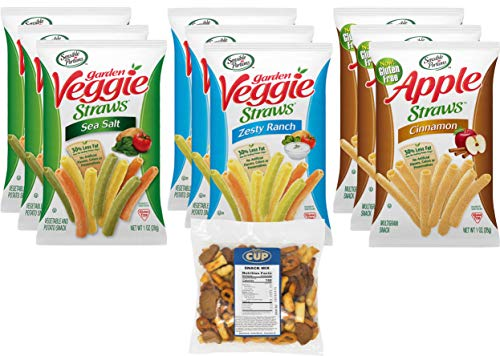 Sensible Portions Veggie and Apple Straws Variety Pack, 9 Count 1 Ounce Bags, 3 Different Flavors with By The Cup Snack Mix