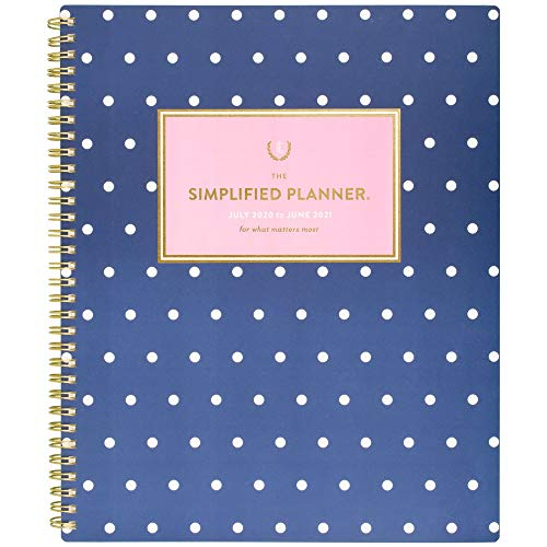 Academic Planner 2020-2021, Simplified for AT-A-GLANCE Weekly & Monthly Planner, 8-1/2' x 11', Large, Navy Dot (EL402-905A)