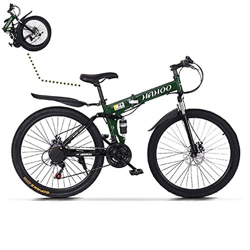 TOUNTLETS 26 Inch Womens Mountain Bike,Full Suspension Folding Mountain Bike City Commuter with 21-Speeds Dual Disc Brakes Lightweight Folding Bikes Non-Slip City Riding Bicycle for Men/Women,Green