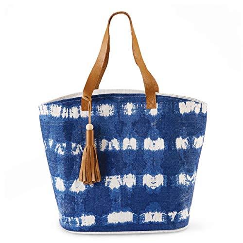Mud Pie 86100011S Women Tie Due Jute Tote Bag, 16 x 24 x 9 inch, Multicolor