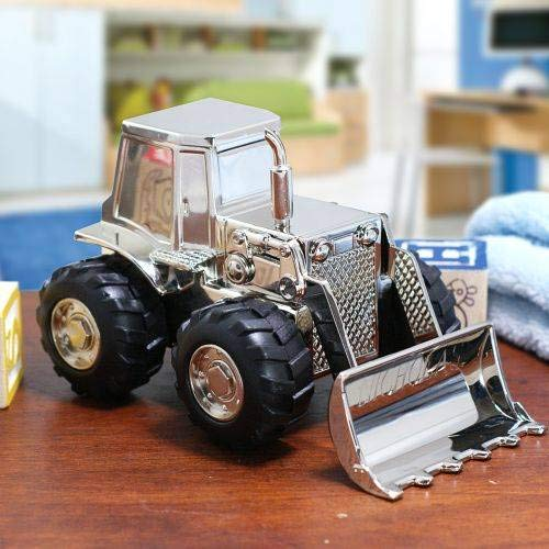 Personalized Front End Loader Tractor Piggy Bank Custom Name Engraved