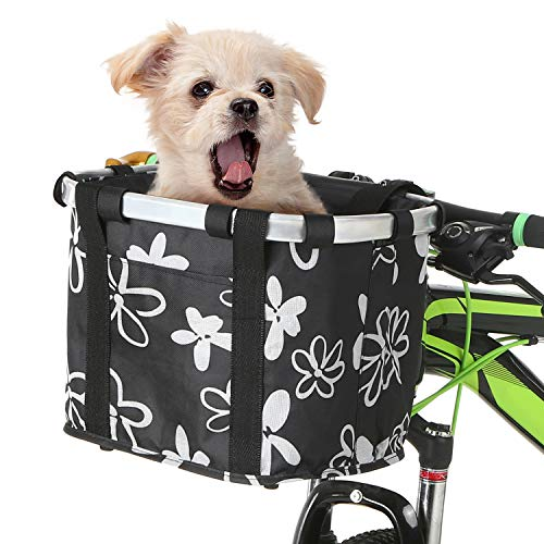 Lixada Bike Basket Waterproof Small Pet Cat Dog Carrier Bicycle Handlebar Front Basket Quick Release Easy Install Detachable Folding Picnic Shopping Bag Cycling Front Bag Handbag
