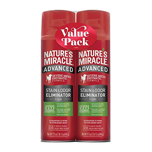Nature's Miracle Advanced Stain & Odor Eliminator Foam for Dogs, 17.5 fl. oz., Twin Pack, 17.5 FZ