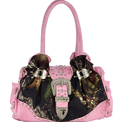Mossy Oak Arctic Camo Rhinestone Buckle Cuffed Shoulder Bag - Camouflage/Pink Trim