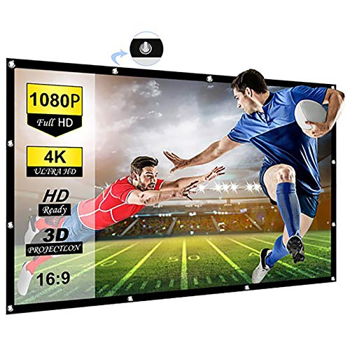Chalpr Projector Screen 120 inch 16:9 HD Anti-Crease Portable Projection Screen, Foldable Indoor Outdoor Projector Movies Screen for Home Theater Support Double Sided Projection