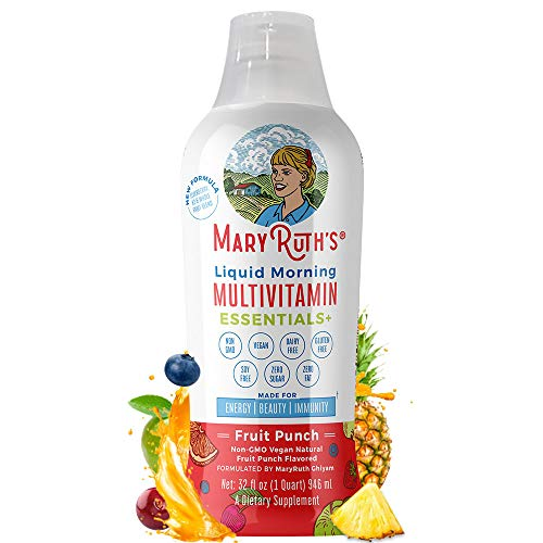 Morning Liquid Multivitamin + Zinc + Elderberry + Organic Whole Food Blend by MaryRuth's (Fruit Punch) Vitamin A B C D3 E Trace Minerals & Amino Acids 100% Vegan - Men Women Kids 0 Sugar 32oz