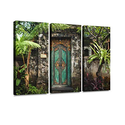 3 Panel Wall Art Modern Artworks for Home Decor Canvas Prints Traditional Balinese Handmade Carved Wooden Door Pictures for Living Room Bedroom Decoration, Ready to Hang