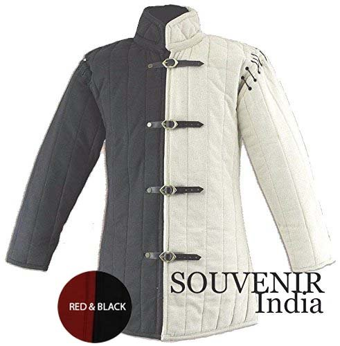Souvenir India Medieval Thick Padded Gambeson Coat Aketon Jacket Armor, Red & Black - Large