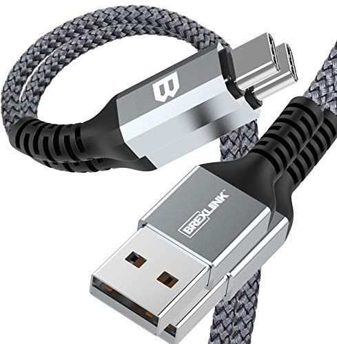 BrexLink USB C Fast Charging Cable(3A), USB C to USB A Charger (6.6ft/2 Pack), Nylon Braided Fast Charging Cord for Samsung Galaxy S10 S9 S8 Note 9, Pixel, LG V30 G6, Nintendo Switch(Grey)