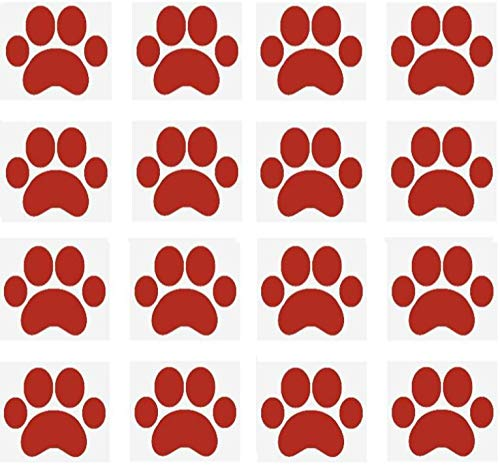 SecurePro Products 16 Large Paw Prints Premium Quality Decal Stickers - Our Amazing Super Tac Adhesive Holds Strong; Easily Re-Position and Reuse, Easy to Remove, 5.25' Tall x 6' Wide' (Red)