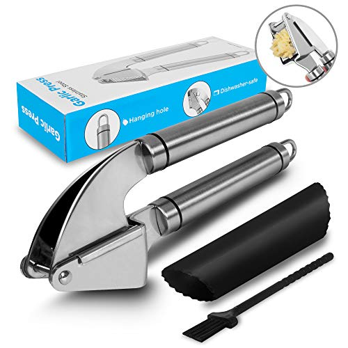 Garlic Press, Food Grade 304 Steel, Dishwasher Safe, Rust-Proof, Easy to Clean, Peeler and Brush Included