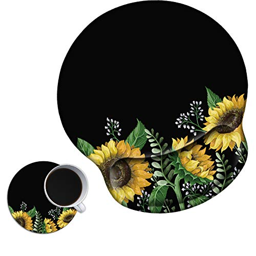 Mouse Pad with Wrist Support Gel, AUOX Ergonomic Mouse Pad with Comfortable Wrist Rest, Gaming Mousepad Non-Slip PU Base for Laptop Office Working Home Easy Typing & Pain Relief, Sunflower with Black