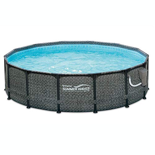 Summer Waves 14ft x 48in Round Above Ground Outdoor Frame Swimming Pool Set with Filter Pump and Ladder
