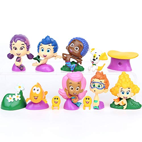Bubble Kids Fish Family Toy Figure 12pcs Cake Toppers Bubble Characters Figurine Collection Playset Party Decorations