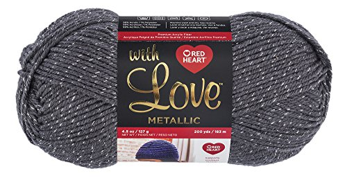 Red Heart With Love Yarn, Metallic - Charcoal