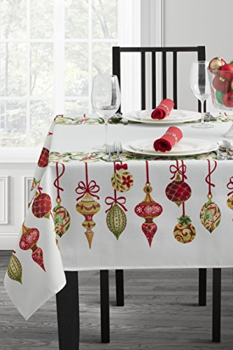 "Benson Mills Printed Christmas Tablecloth (70"" Round, Holiday Trimming)"