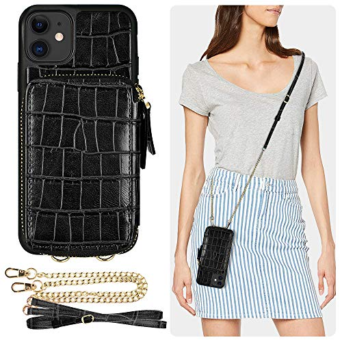 iPhone 11 Wallet Case, ZVE iPhone 11 Case with Card Holder Slot Crossbody Chain Handbag Purse Wrist Strap Zipper Crocodile Skin Leather Case Protective Cover for Apple iPhone 11 6.1 inch - Black