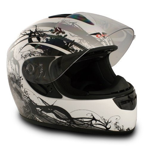 VCAN V136 Full-Face Helmet (Silver, X-Large)