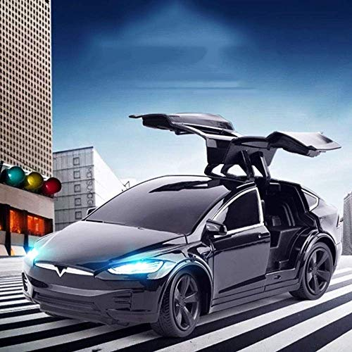 AIOJY 2.4G Electric Drift Racing Tesla Rechargeable RC Car Remote Control Double Door with Light Sports Car Best Christmas New Year RC Vehicle Gifts for Kids (Color : Black)