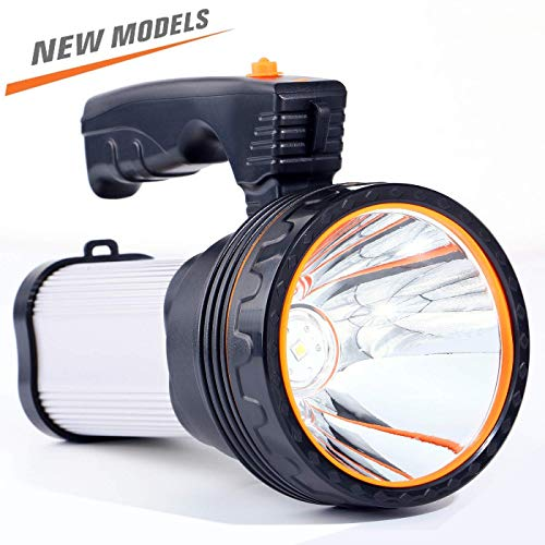 CSNDICE 35W Rechargeable Spot light, spotlight flashlight led, High-power Super Bright 6000mah 9000 Lumens, USB Power Bank Rechargeable flashlights IPX5 Waterproof Searchlight spotlight hunting