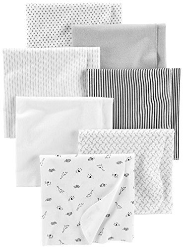 Simple Joys by Carter's Baby Unisex 7-Pack Flannel Receiving Blankets, Gray/White/Black, One Size