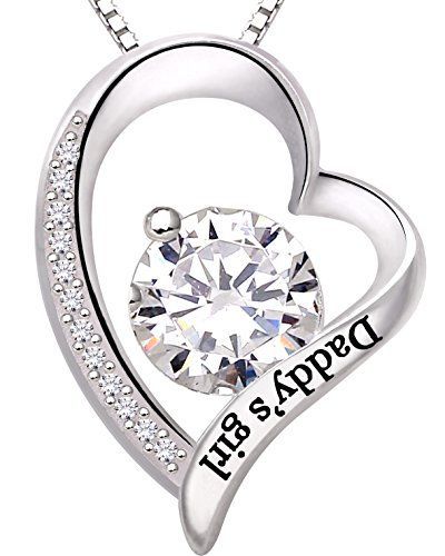 ALOV Jewelry Sterling Silver Daddy's Girl Love Heart Cubic Zirconia Pendant Necklace