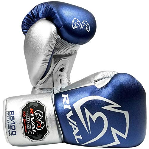 RIVAL Boxing RS100 Pro Sparring Boxing Gloves - 14 oz. - Blue/Silver