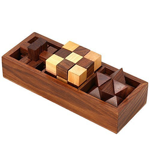 ShalinIndia 3 in One Wooden 3D Puzzle Games Set Teens and Adults Includes Wood Interlocking Blocks Diagonal Burr and Snake Cube in Storage Box