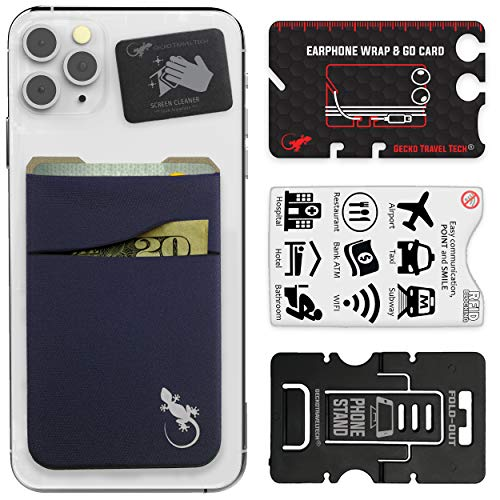 Double Pocket - Adhesive Card Holder - Cell Phone Pouch - Stick on Lycra Pocket - Carry Credit Cards and Cash (Navy)