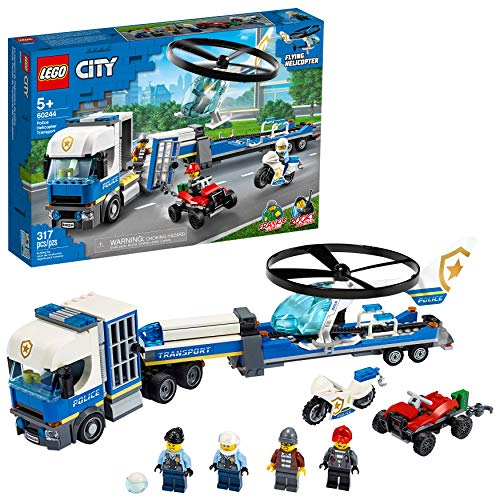 LEGO City Police Helicopter Transport 60244 Police Toy, Cool Building Set for Kids, New 2020 (317 Pieces)