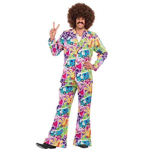 Mens 70s Campervan Hippie Costume Adults 60s Flower Power Hippy Suit - X-Large