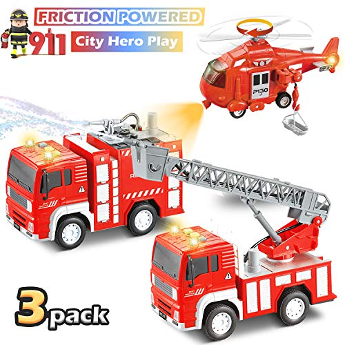 Tuptoel Vehicle Set, Fire Trucks with Flashlights & Sirens& Water Pump, Fire Trucks, Toy Helicopter, Fire Engine - Great Toys/Birthday Gifts for Boys/Girls Age 3 4 5 6 7 8+