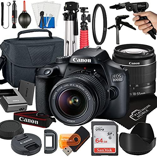 Canon EOS 4000D / Rebel T100 DSLR Camera with 18-55mm Lens + Platinum Mobile Accessory Bundle Package Includes: SanDisk 64GB Card, Tripod, Case, Pistol Grip and More (21pc Bundle)