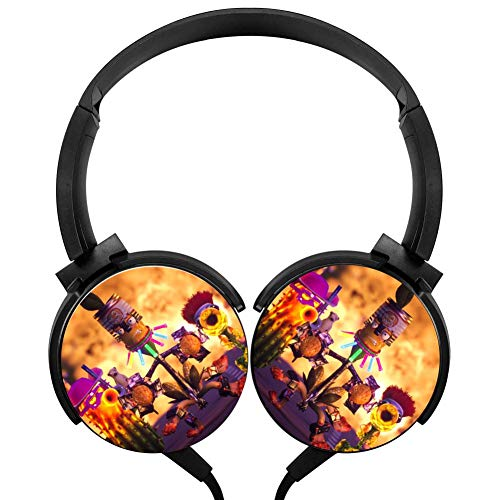 Headphones Lightweight with Mic Over Ear 3.5Mm Running Plants-Vs-Zombies Stereo Headsets for Girls