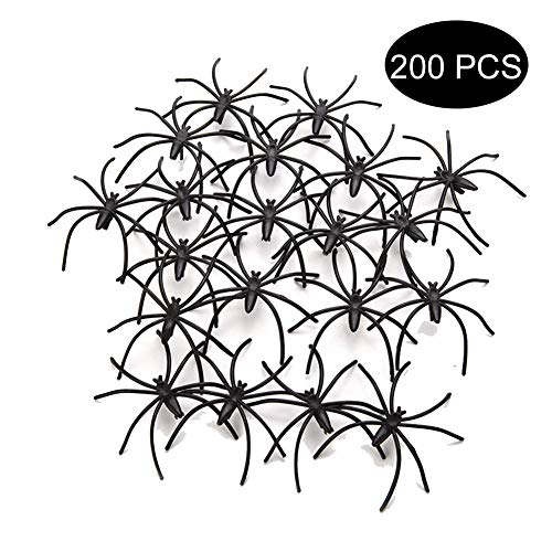 Szsrcywd 200 PCS Scary Plastic Spiders Small Fake Spider Joke Toys for Prank Realistic Fake Plastic Toy Spider Novelty Party Decoration Trick