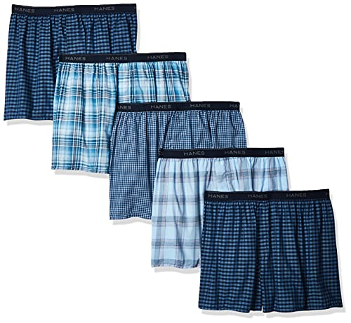 Hanes Ultimate Men's Tagless Boxer with Exposed Waistband – Multiple Packs Available, Blue Assorted 5-Pack, Large