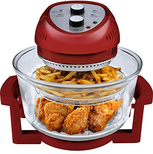 Big Boss Oil-less Air Fryer, 16 Quart, 1300W, Easy Operation with Built in Timer, Dishwasher Safe, Includes 50+ Recipe Book - Red
