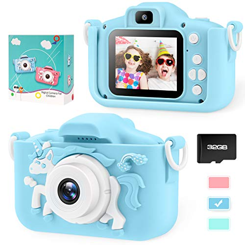 Kids Camera for Boys Toddler - Mini Digital Camera Toys for 3 4 5 6 7 8 Year Old Children - Anti-Drop 20.0MP Selfie Dual Video Camcorder - 2.0 Inches Screen + SD Card 32GB