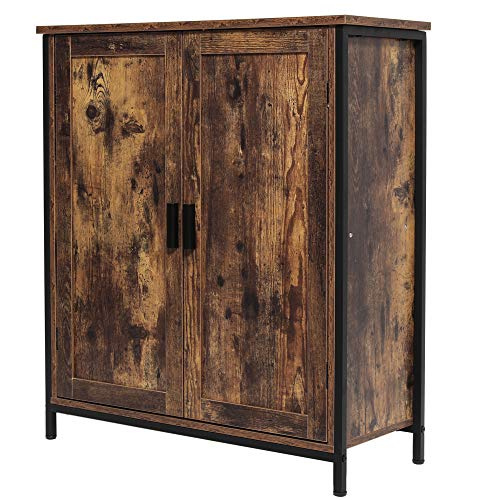 Iwell Floor Storage Cabinet with 1 Shelf & 2 Doors, Free Standing Cupboard with Metal Frame, Bookcase Sideboard, Media File Cabinet for Kitchen, Entryway Rustic Brown