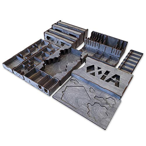 Smonex Wooden Organizer Compatible with Xia Board Game - Box Suitable for Storage All Xia Gaming Expansions - Kit Token Box Card Insert
