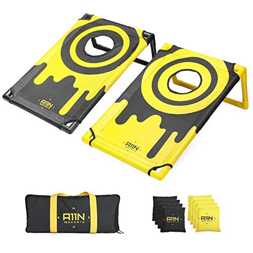 A11N Portable PVC Framed Cornhole Game Set with 8 Bean Bags & Carrying Bag | Yellow & Black Pattern