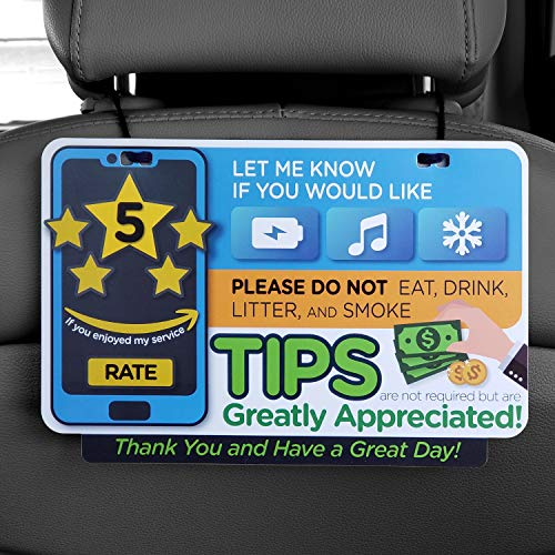 ATOZ BOX - Tips & Five Stars Rating Reminder Accessories Sign for Rideshare Driver (Uber & Lyft) Tips Appreciated Sign/Plastic Both Sides Printed (Casual Type)