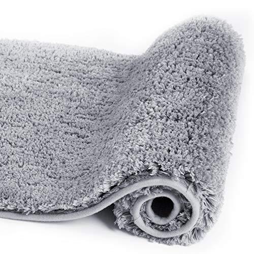 Walensee Bathroom Rug Non Slip Bath Mat for Bathroom (16 x 24, Grey) Water Absorbent Soft Microfiber Shaggy Bathroom Mat Machine Washable Bath Rug for Bathroom Thick Plush Rugs for Shower