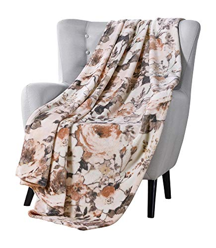 VCNY Decorative Throw Blanket: Large Floral Watercolor Design Accent for Couch or Bed, Colors: Peach, Blush, Pink, Taupe, Grey, Beige