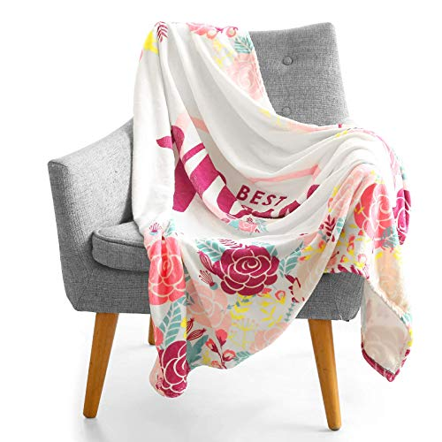 ComboJoy Best Mom Ever Blanket - Super Soft Big Size (50' x 60') Flannel Blanket - Perfect As, Mom Birthday Gifts from Daughter or Son - (Pink)